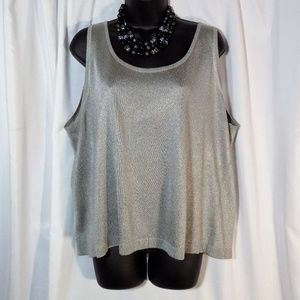 Linda Allard/Ellen Tracy Silver 2X Knit Tank Top